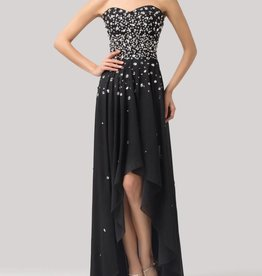 Black Jeweled High Low Dress Size 8