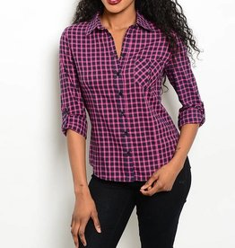 Fuchsia & Navy Plaid Long Sleeve Top