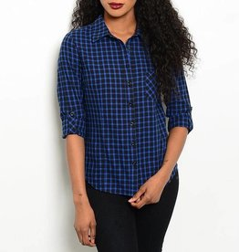 Blue & Black Plaid Long Sleeve Top