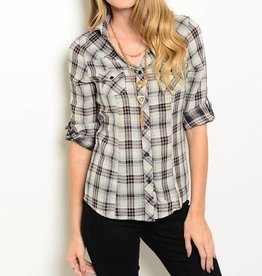 Gray & Red Plaid Long Sleeve Top