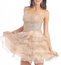 Champagne Ruffled Jeweled Short Dress Size 14