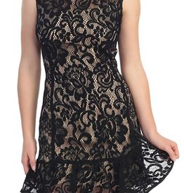 Black Lace Nude Short Dress
