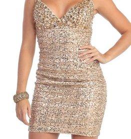 Blush Jeweled Short Dress Size 14
