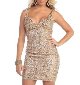 Gold Jeweled Short Dress Size 16