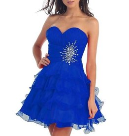 Royal Blue Ruffled Jeweled Short Dress Size 10