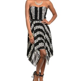 Black & Ivory High Low Dress