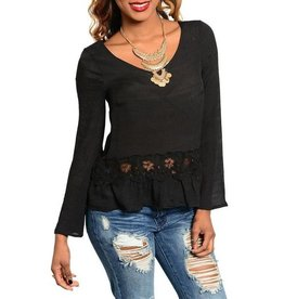 Black With Lace Insert Long Sleeve Top