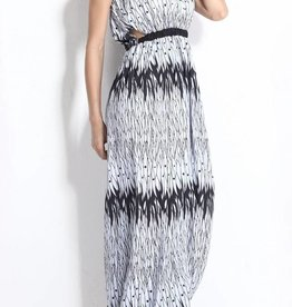 Black & White Strapless Maxi Dress
