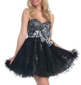 Black Tiger Jeweled Short Dress Size XS