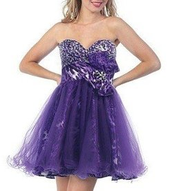 Purple Tiger Jeweled Short Dress Size XS