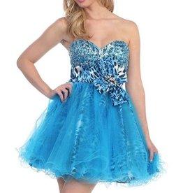 Turquoise Tiger Jeweled Short Dress Size XS