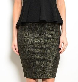 Black & Gold Metallic Short Skirt