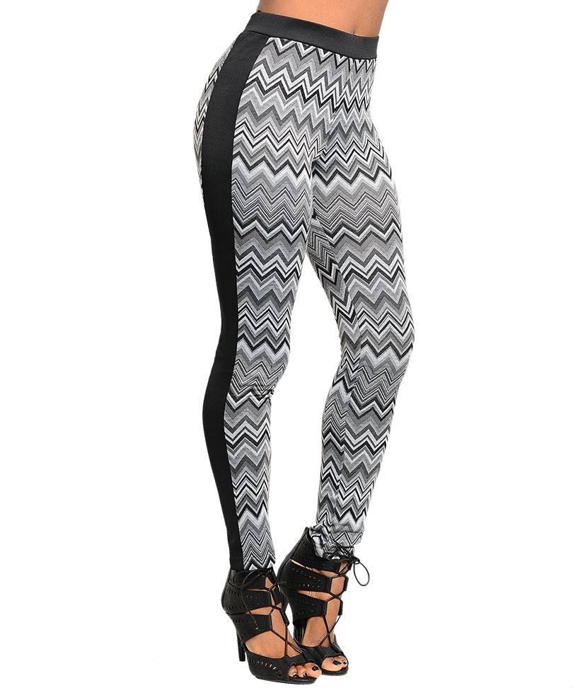 Gray & Black ZigZag Design Leggings - Size Small