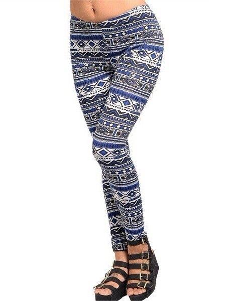 Blue White & Grey Aztec Print Leggings - XL