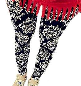 Black Leggings With Gray Damask Print