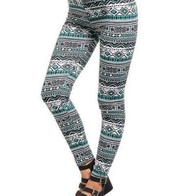 Teal Black & White Aztec Design Leggings