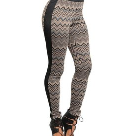 Brown & Black Zigzag Design Leggings