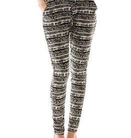 Black And White Aztec Print Joggers