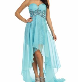 Aqua Jeweled High Low Dress