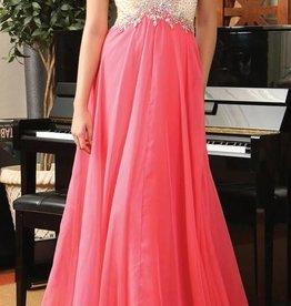 Coral Jeweled Long Dress Size 6