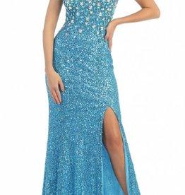 Turquoise Jeweled Long Dress Size 12
