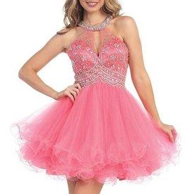 Coral Keyhole Jeweled Short Dress Size S