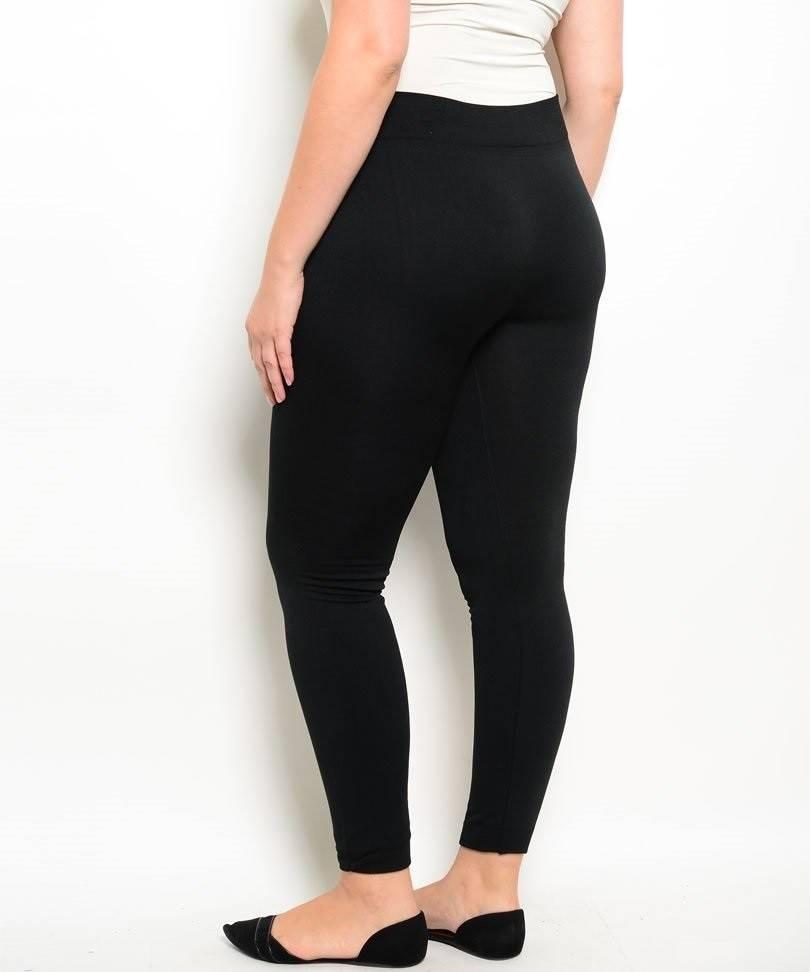 Black Plus Size Fleece Leggings