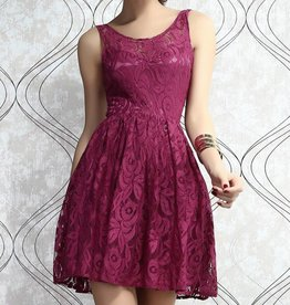 Berry Skater Dress in Lace with Open Back