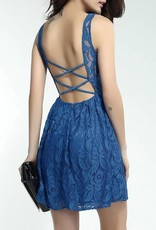 Blue Skater Dress in Lace with Open Back