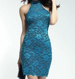 Teal Lace High Neck Short Dress