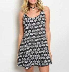 Black Patterned Short Dress