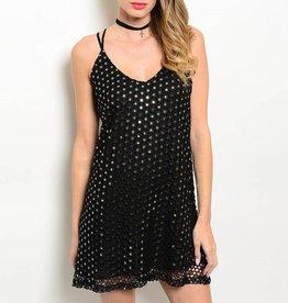 Black Gold Sequin Short Dress