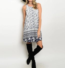 Ivory Navy Lace Back Short Dress