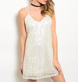 Cream Silver Sequin Short Dress