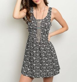 Black White Patterned Short Dress