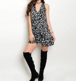 Black White Patterned Short Dress