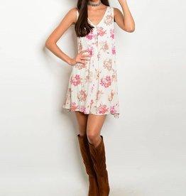 Ivory Pink Floral Short Dress