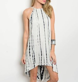 White Black Tie Dye Short Dress