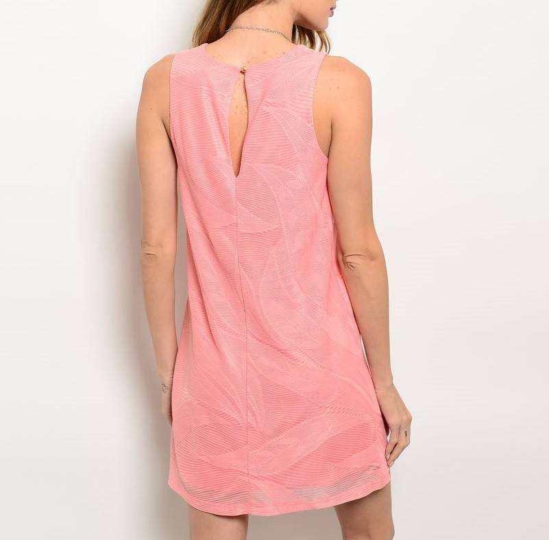 Coral Patterned Short Dress