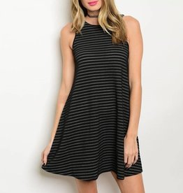 Black Gray Striped Short Dress
