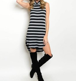 Black White Striped Short Dress