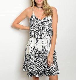 Ivory Black Tribal Patterned Short Dress