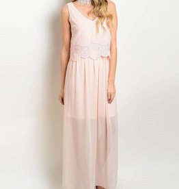 Light Pink Lace Long Dress