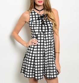 White Black Lace Up Short Dress
