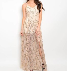 Nude Gold Sequin Long Dress