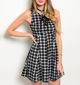 Black White Lace Up Short Dress