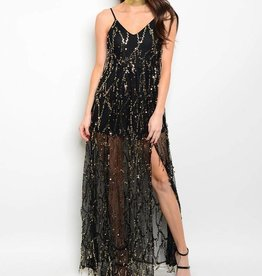 Black Gold Sequin Long Dress