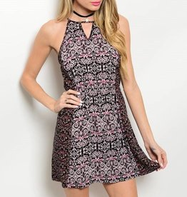 Pink Patterned Short Dress