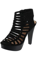 Black Cut Out Platform Heels