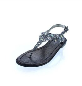 Black Jeweled Sandals